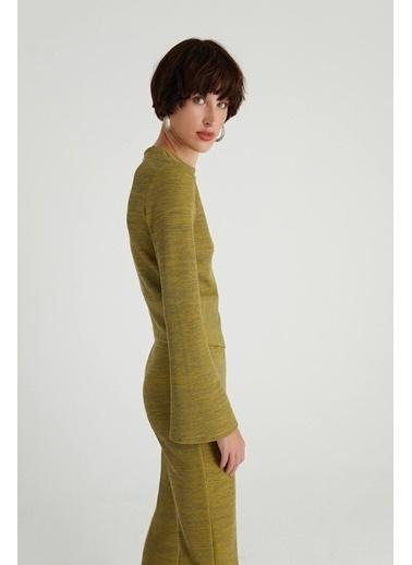 Rue Asimetrik Geniş Kol Bluz Yeşil